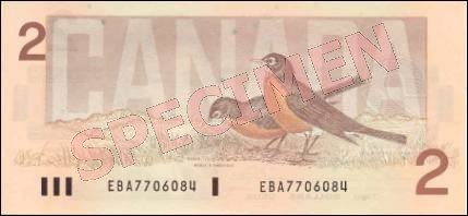 Birds of Canada Series - $2 Notes