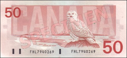 Birds of Canada Series - $50 Notes